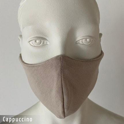 Gesichtsmaske - Baumwollmaske im T-Shirt Stoff - Cappuccino