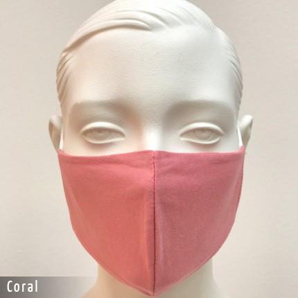 Gesichtsmaske - Baumwollmaske im T-Shirt Stoff - Coral
