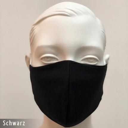 Gesichtsmaske - Baumwollmaske im T-Shirt Stoff - Schwarz