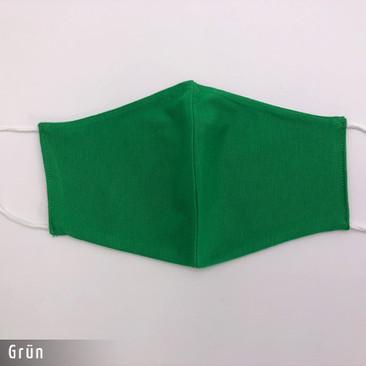 Gesichtsmaske - Baumwollmaske im T-Shirt Stoff - Gruen Maske