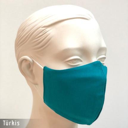 Gesichtsmaske - Baumwollmaske im T-Shirt Stoff - Tuerkis