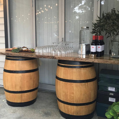 Timber slab with barrels