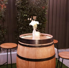 Wine barrel cocktail table hire