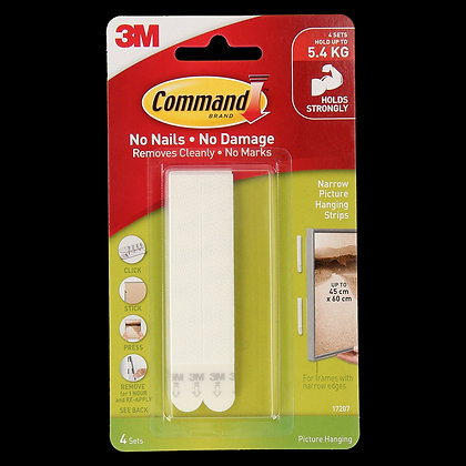 Command Narrow Picture Hanging Strips 4PK