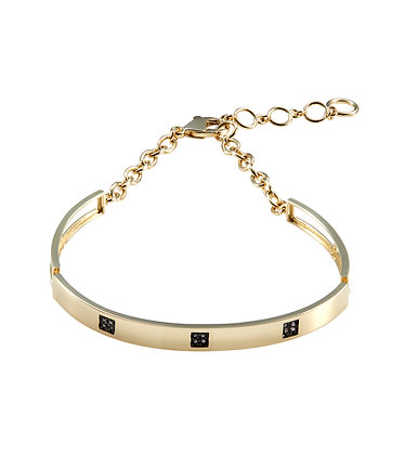 yellow gold black diamond square bracelet