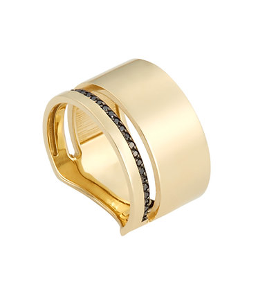 yellow gold and black diamond line ring
