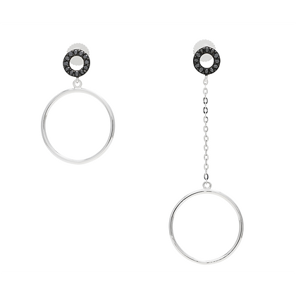 black diamond circle earrings