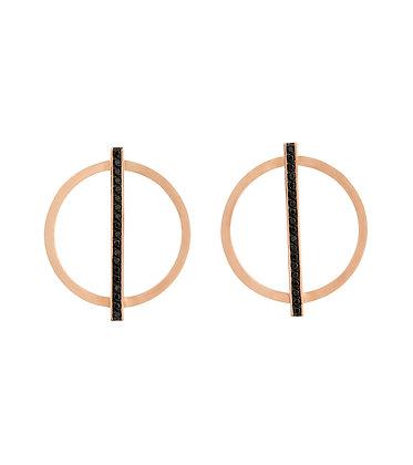 Rose gold black diamond line earrings