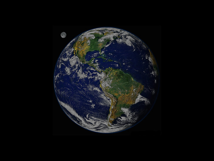 Photograph of Earth and its moon in the background. Shown are North America and South America.