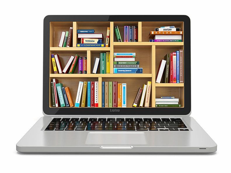 Conceptual-laptop-with-library-on-screen