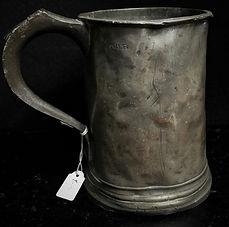 Victorian pewter tankard, quart, circa 1