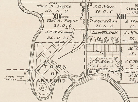 A section of the 1953 survey map of Moor