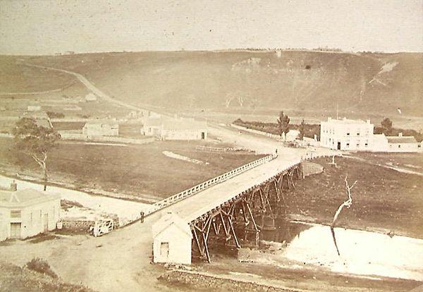 Original timber bridge across the Moorab