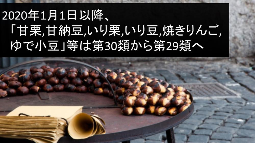 商標 「類似商品・役務審査基準」 2020年改正 甘栗,甘納豆,いり栗,いり豆,焼きりんご,ゆで小豆 第30類 第29類