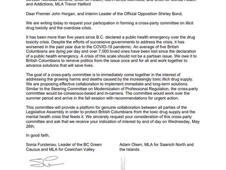 Letter to Premier John Horgan and Interim Leader Shirley Bond