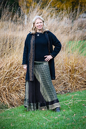 Black Embroidered Vintage Sari Skirt Long