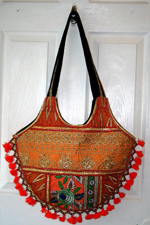 Orange Round Tassel Patchwork Bag