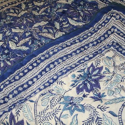Blue Scrolling Flower Jaipuri Lap Quilt