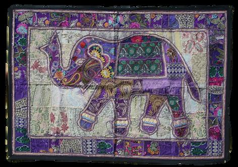 Purple Patchwork Elephant Wall Hanging