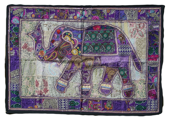 Purple Patchwork Elephant Wall Hanging