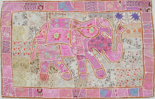Pink Patchwork Elephant Wall Hanging