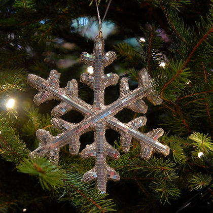 Mirrored Snowflake Christmas Decoration Silver