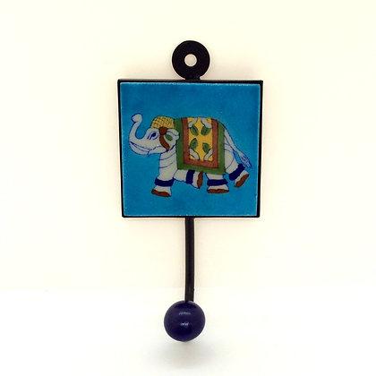 Turquoise Elephant Tile Hook