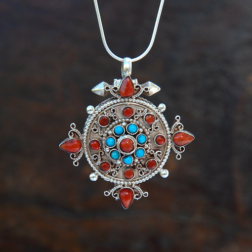 Red Coral and Turquoise Tibetan Locket