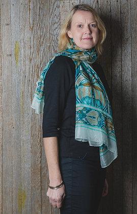 Art Deco Floral Silk Scarf