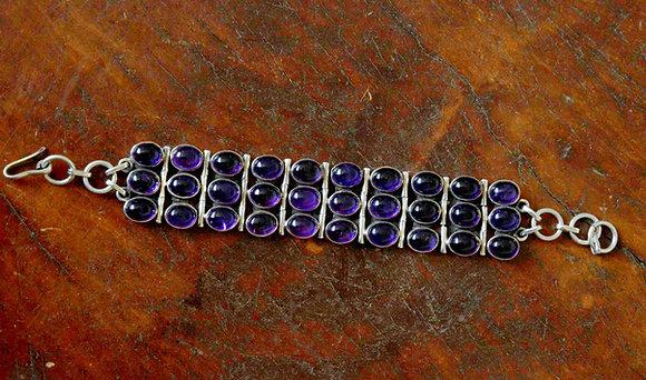 Triple Band Amethyst Bracelet