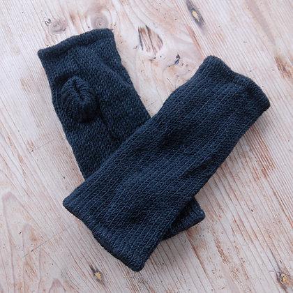 Fleece Lined Woollen Fingerless Gloves Black