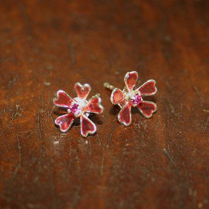 Pink Flower Studs