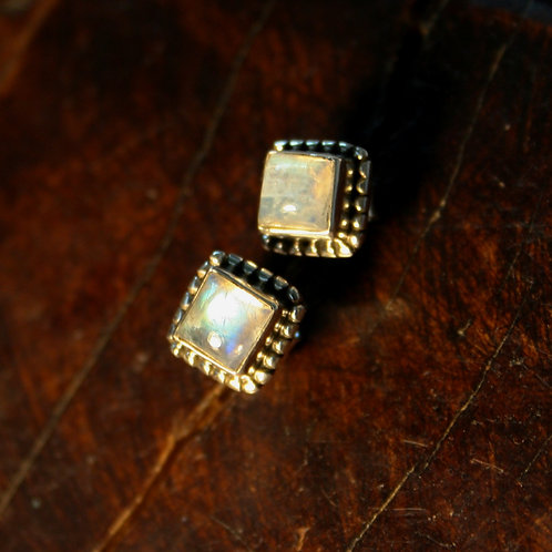 Detailed Square Rainbow Moonstone Studs