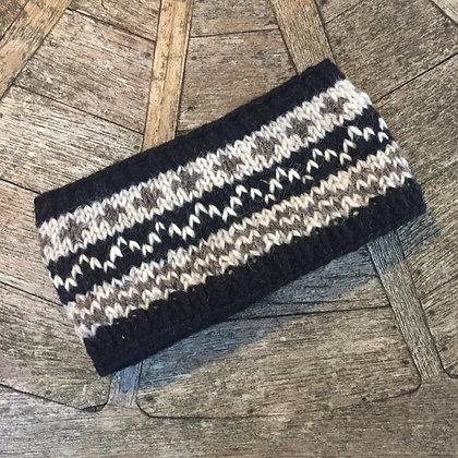 Black and Cream Felt Lined Woollen Headband