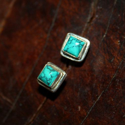 Square Turquoise Studs