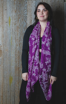 Floral Purple Wool Scarf