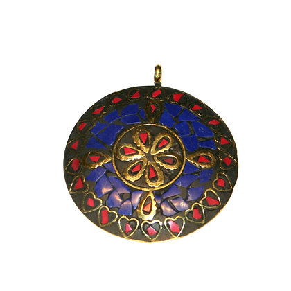 Red and Blue Flower Pendant