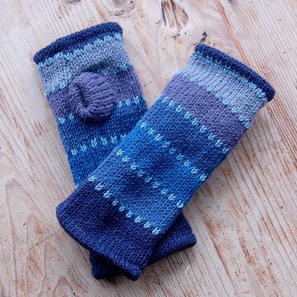 Fleece Lined Woollen Fingerless Gloves Blue Stripes