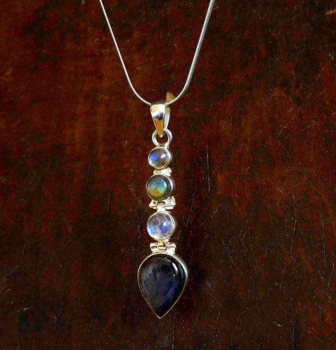 Rainbow Moonstone and Labradorite Drop Pendant
