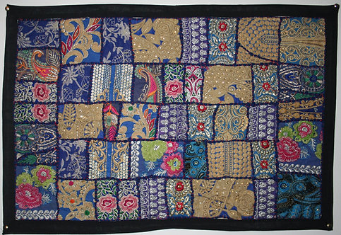 Navy Patchwork Wall Hanging Small