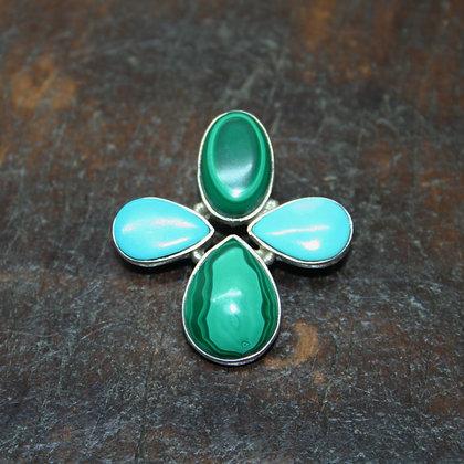 Malachite and Turquoise cross pendant