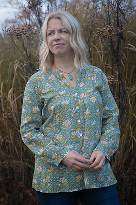 Teal and Mustard Flower Cotton Blouse