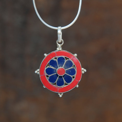 Lapis Lazuli and Coral Tibetan Flower Pendant