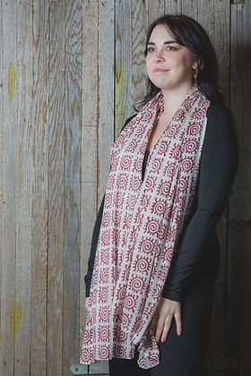 Red Block Printed Cotton Scarf