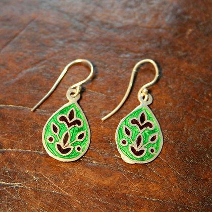 Green Teardrop Enamel Earrings