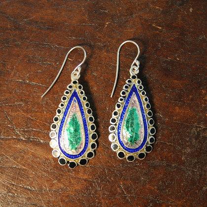 Dotted Teardrop Enamel Earrings