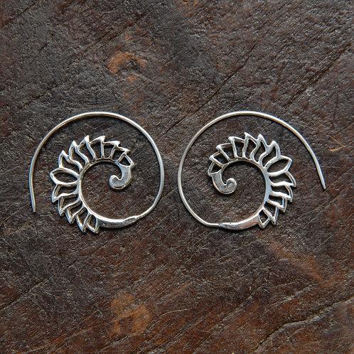 Lotus Flower Spiral Hoops