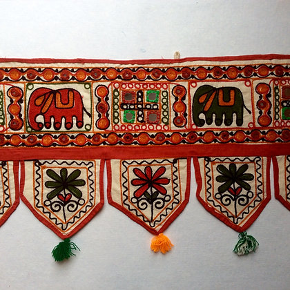 Cream Embroidered Elephant Toran