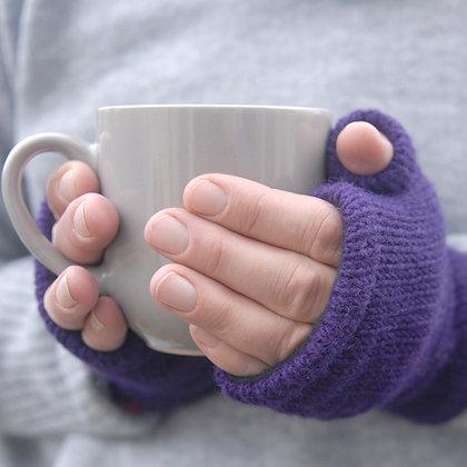 Fleece Lined Woollen Fingerless Gloves Purple