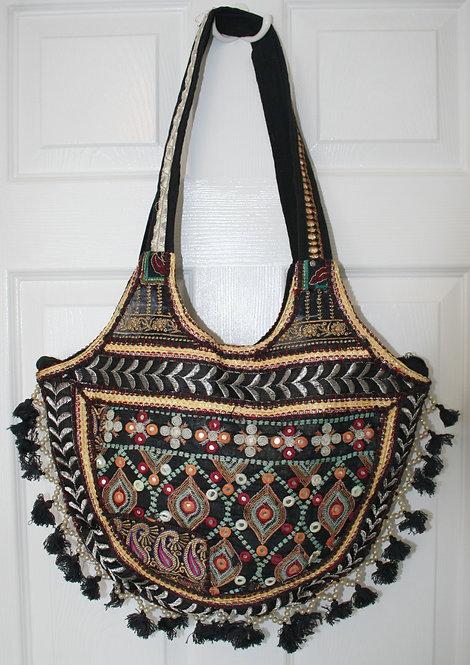 Black Round Tassel Patchwork Bag